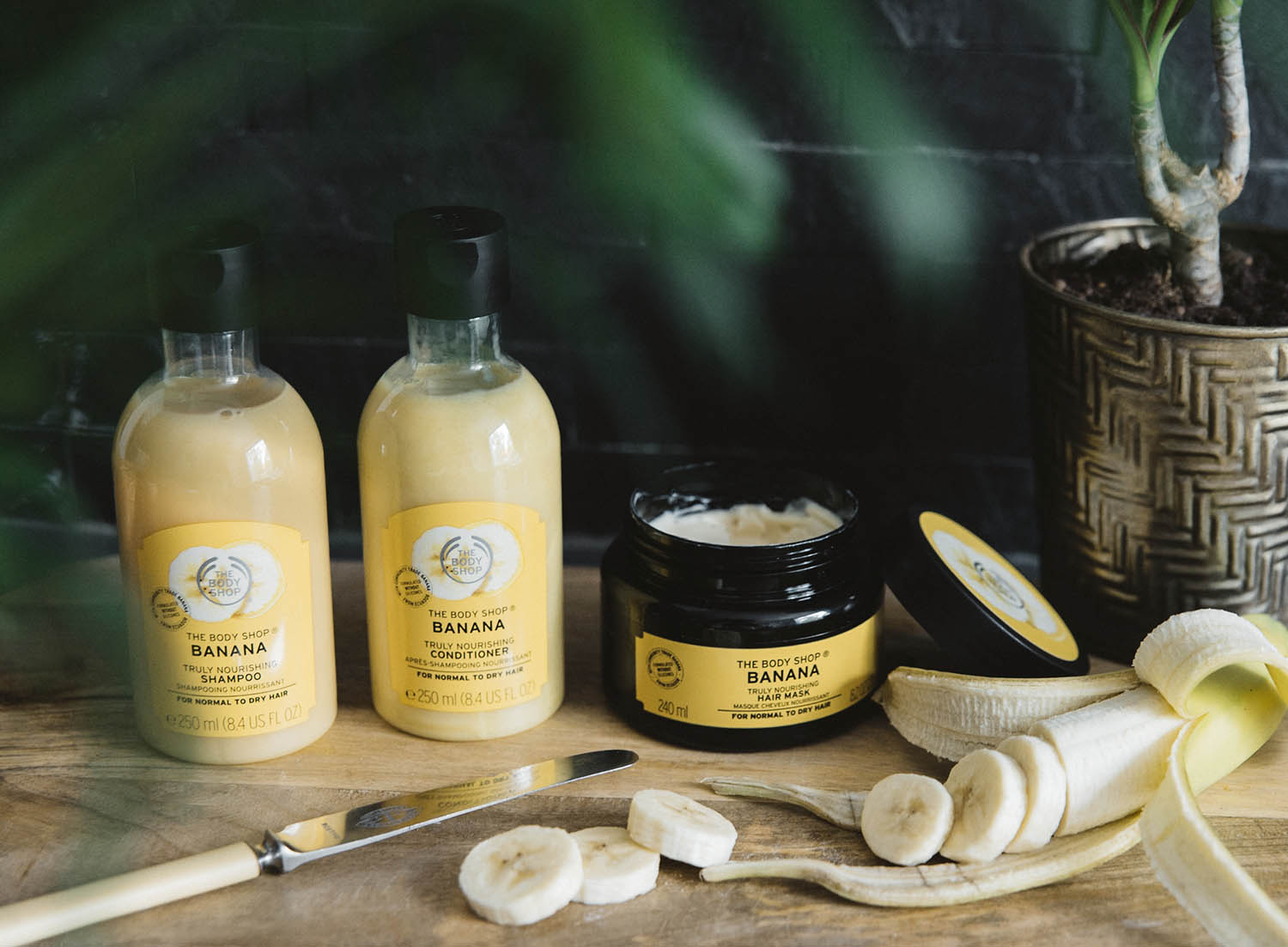 The Body Shop Banana Banana Truly Nourishing Shampoo, Conditioner & Hair Mask