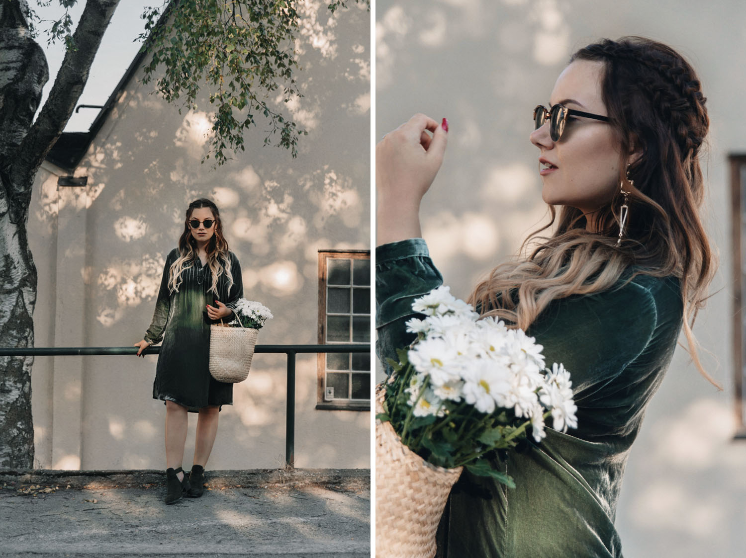 Green velvet dress outfit + basket & flowers