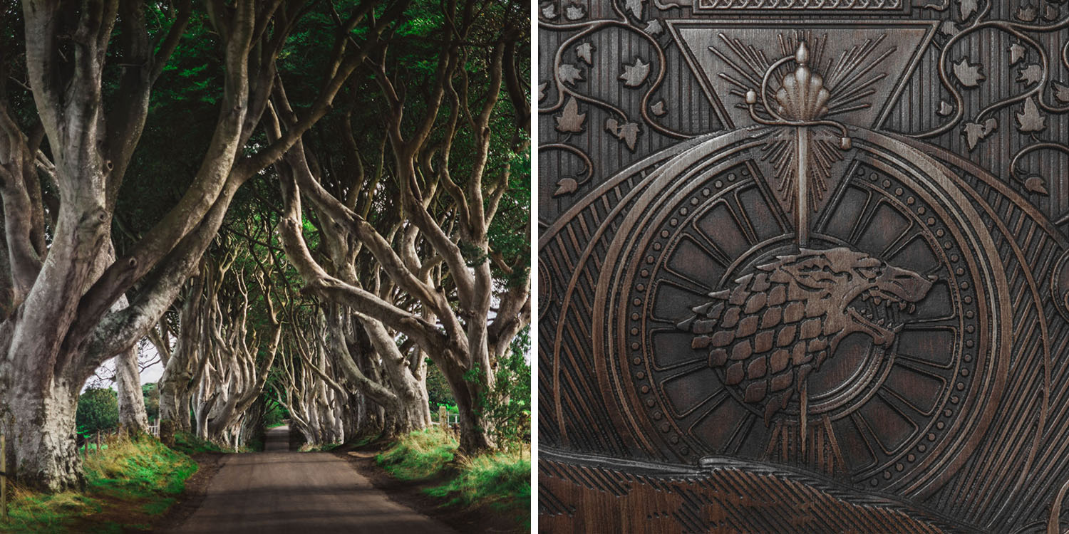 Game of Thrones-dörr intill The Dark Hedges i Nordirland