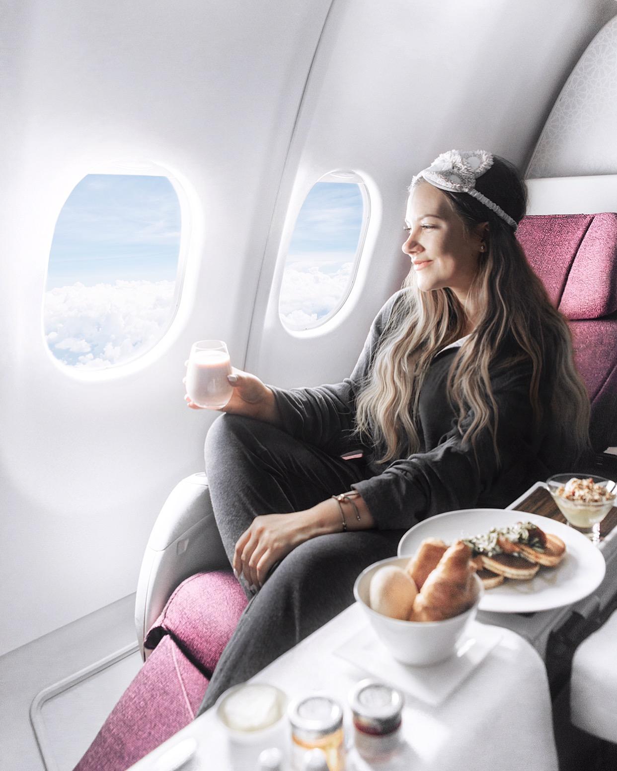 Packtips inför en långflygning / Adaras in Qatar Business Class