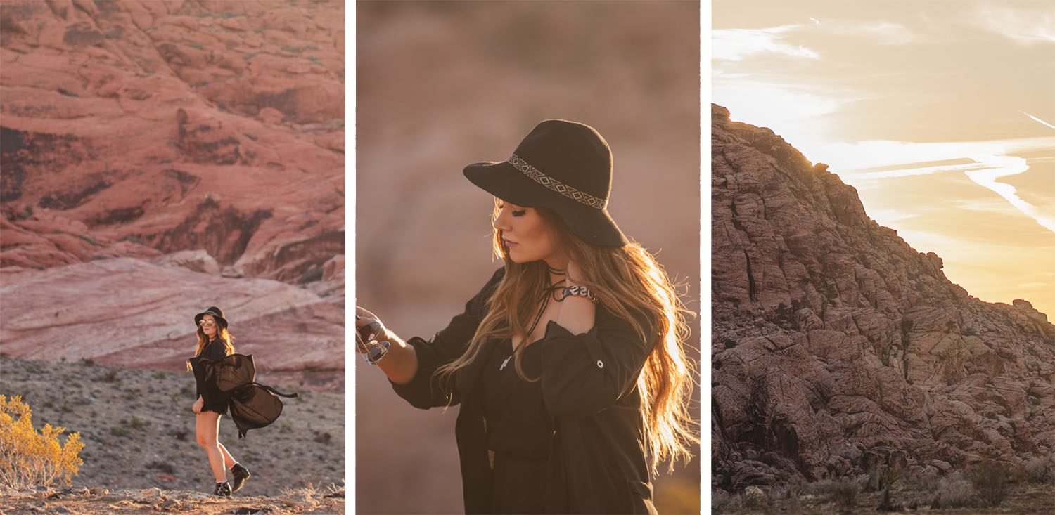 Collage with Jumpsuit & Hat Outfit at Red Rock Canyon