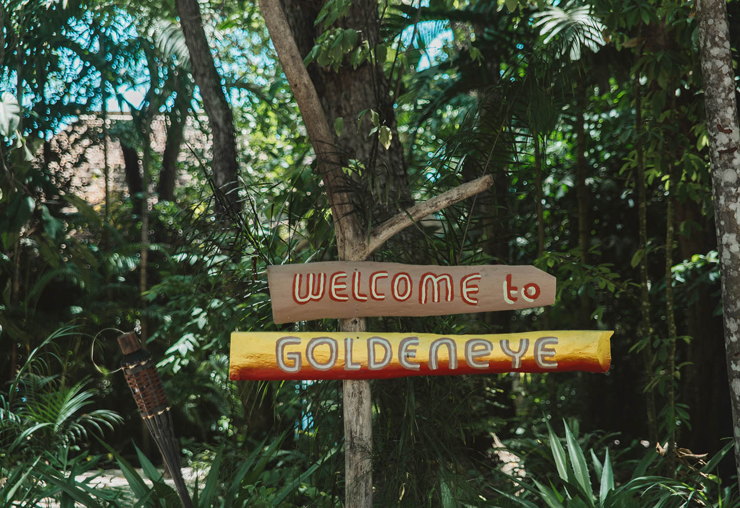 Welcome to GoldenEye Resort Sign