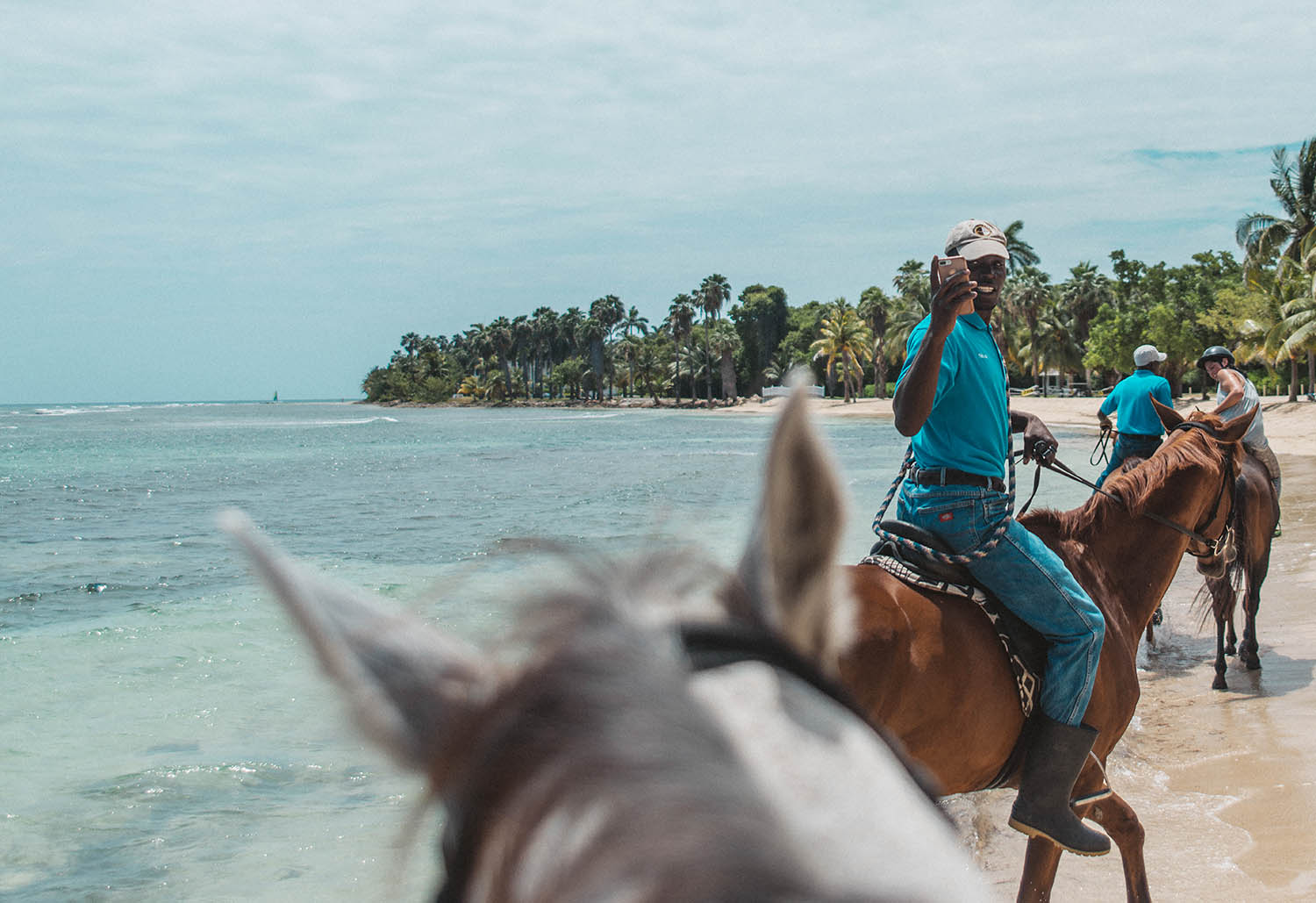 Horse-back riding on Half Moon Beach in Jamaica