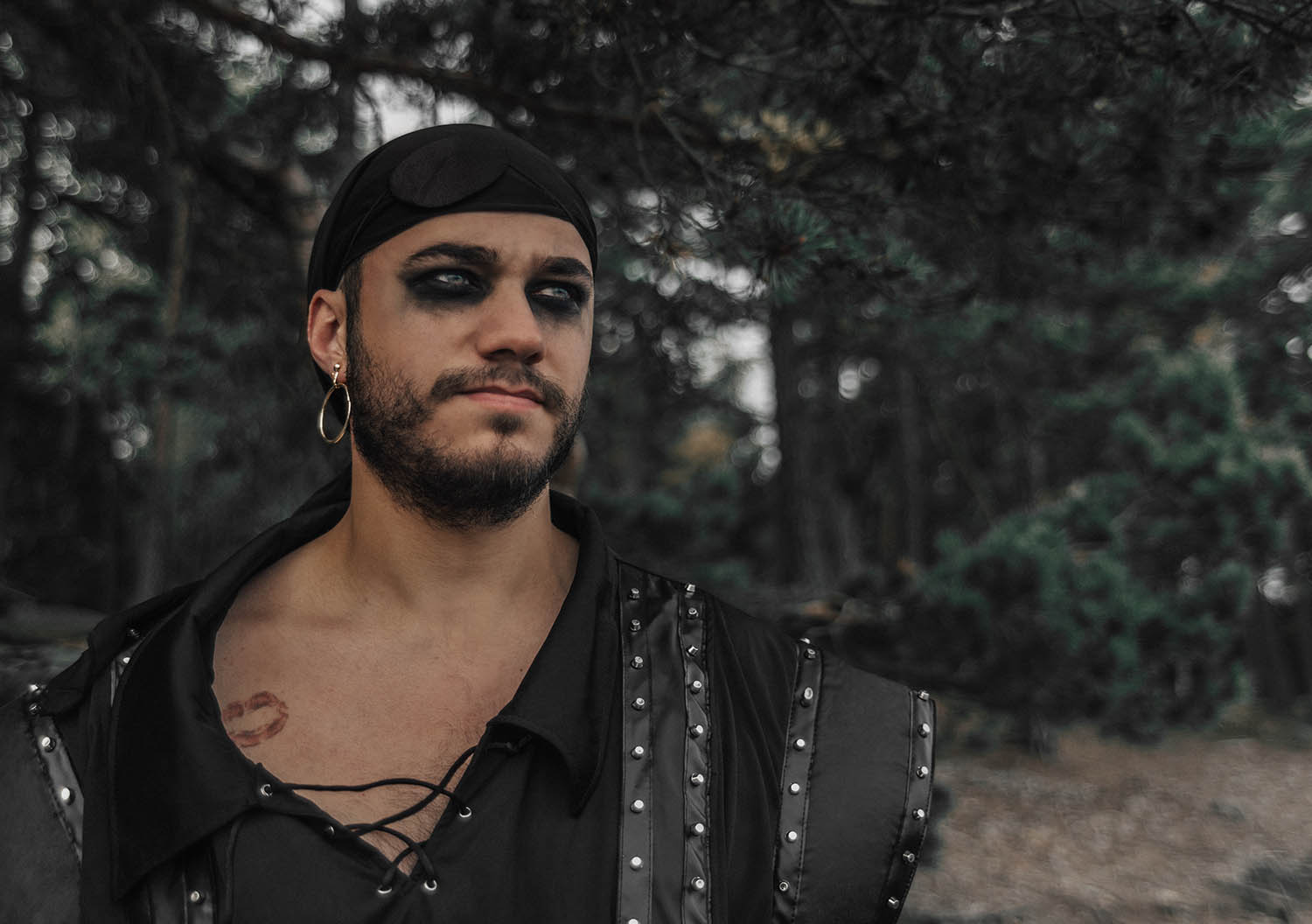 Closeup Pirate Makeup for Men