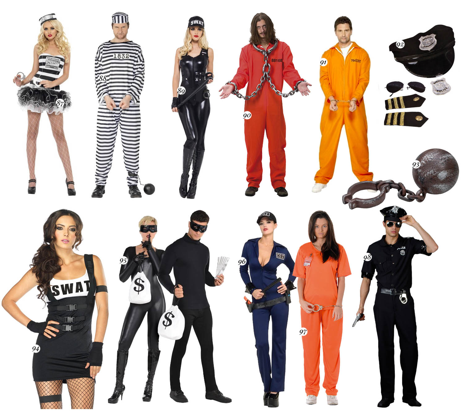 Convict & Police Couple Costumes