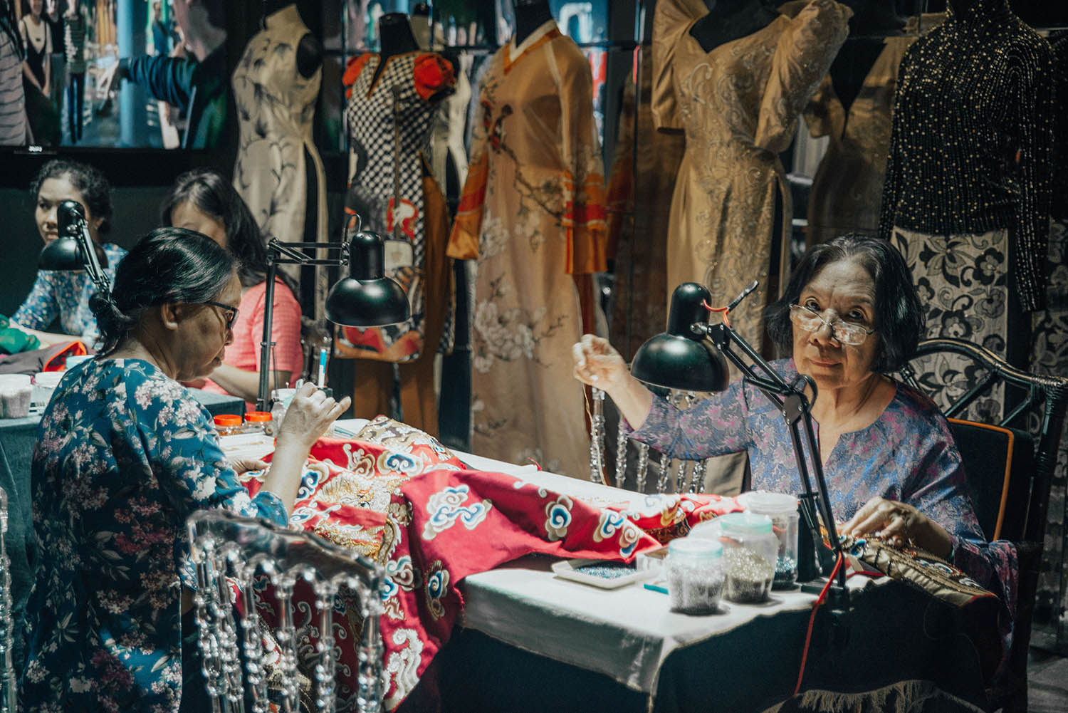 Dresses in the making at Au Dai Museum - Things To Do in Ho Chi Minh City