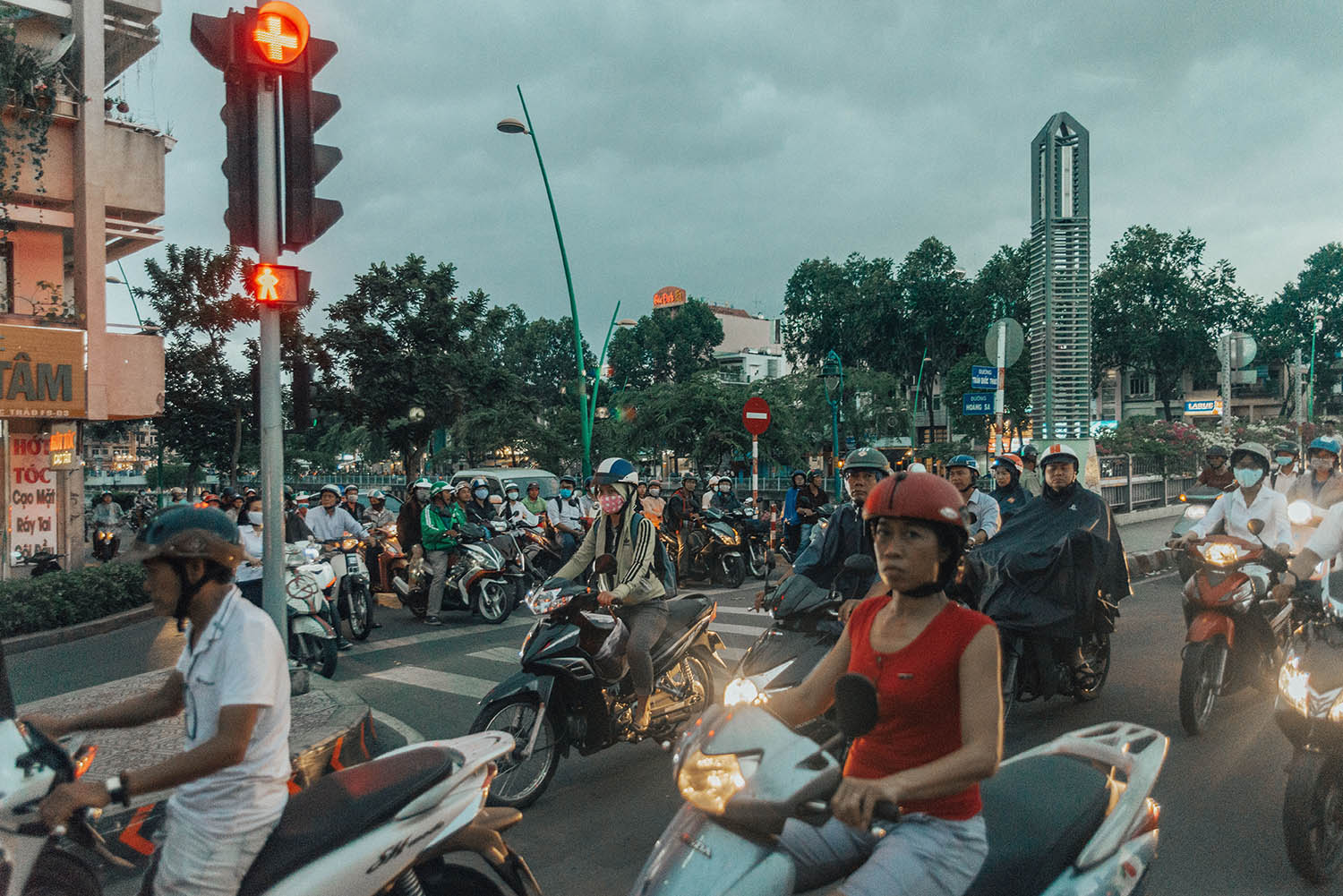 Traffic - Busy street with motorbikes in Ho Chi Minh City, Vietnam
