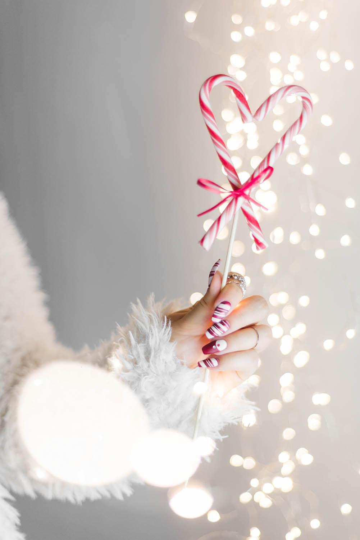 Festive Christmas Nail Art Ideas - Matte Candy Cane Nails