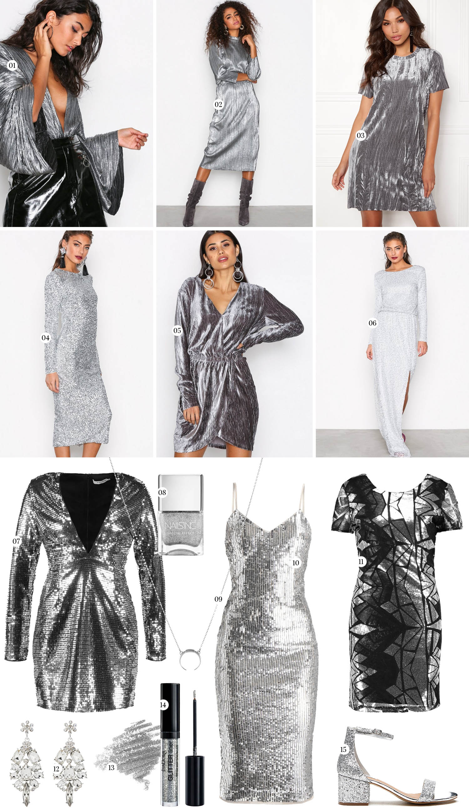 New Year's Eve dresses in Silver