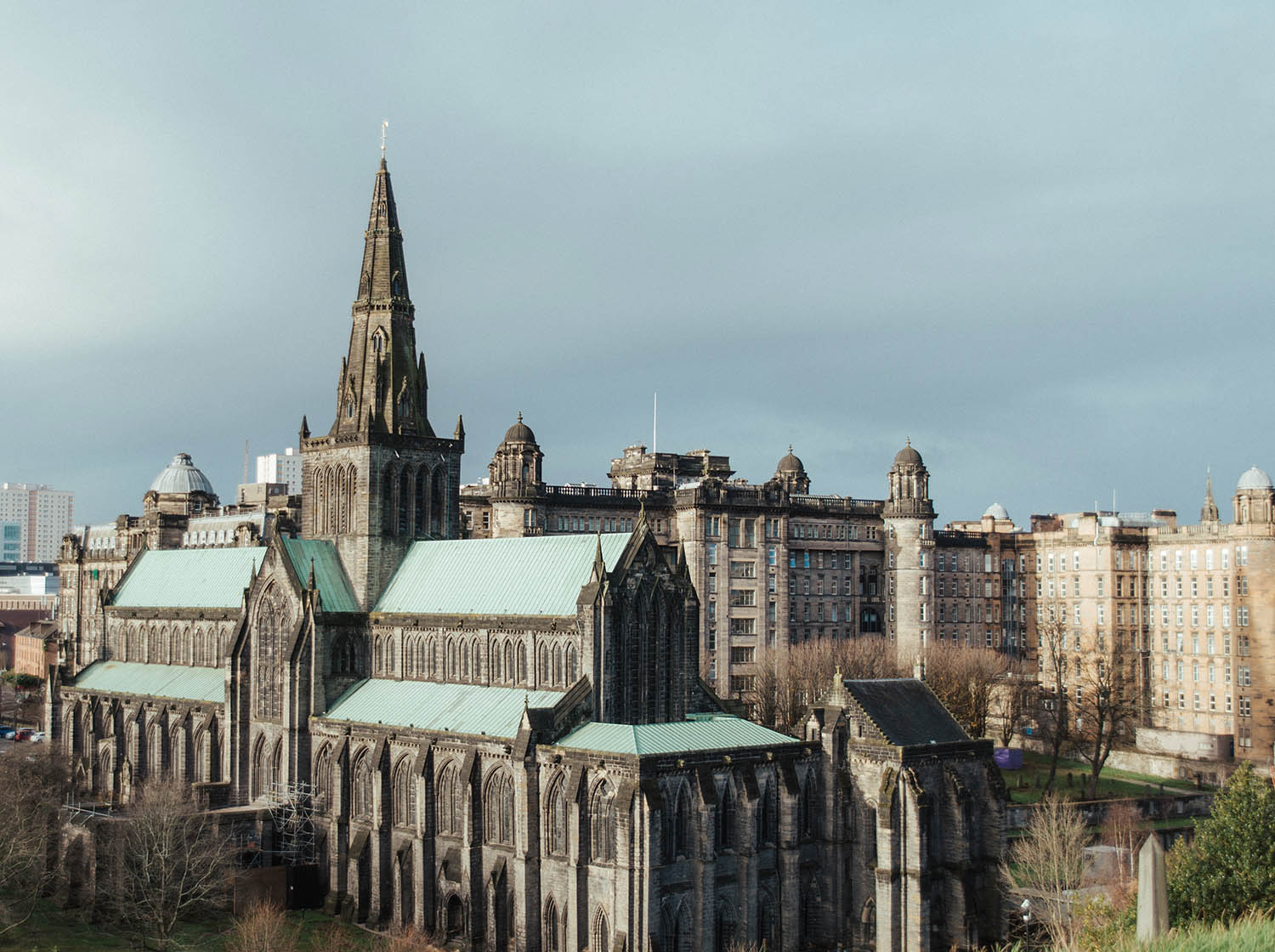 Glasgow Cathedral in Scotland, View from Necropolis
