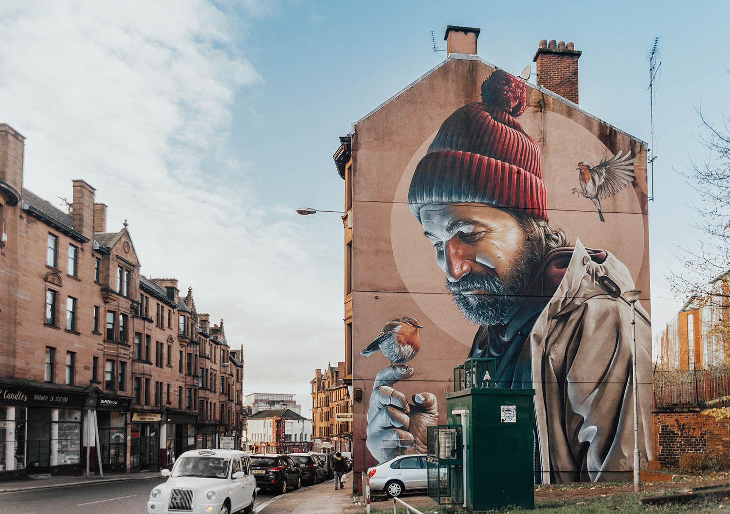 Beautiful Street Art by Sam Bates in Glasgow, Scotland