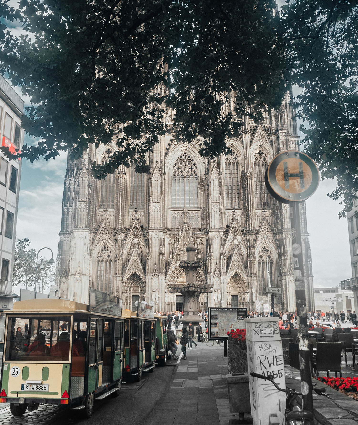 Street in front of Cologne Cathedral in Germany