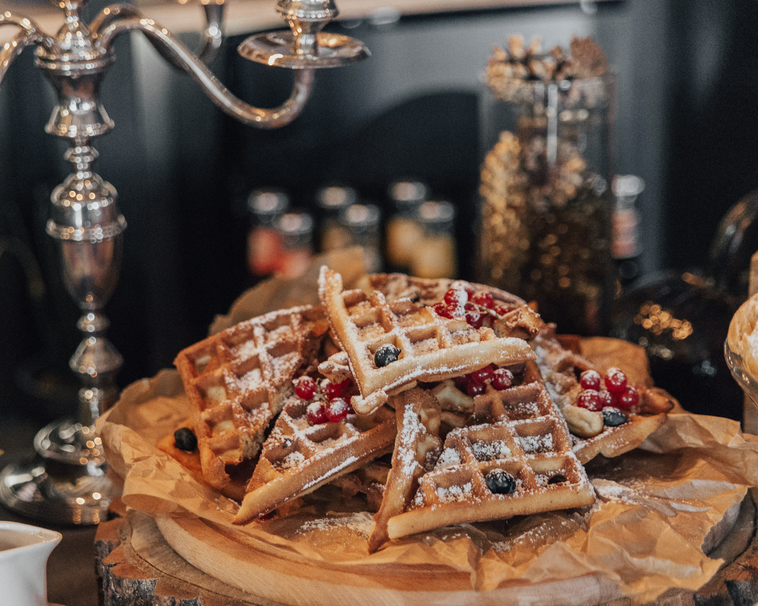 Belgian Waffles at Brunch Buffet at Annas Dārzs, Riga