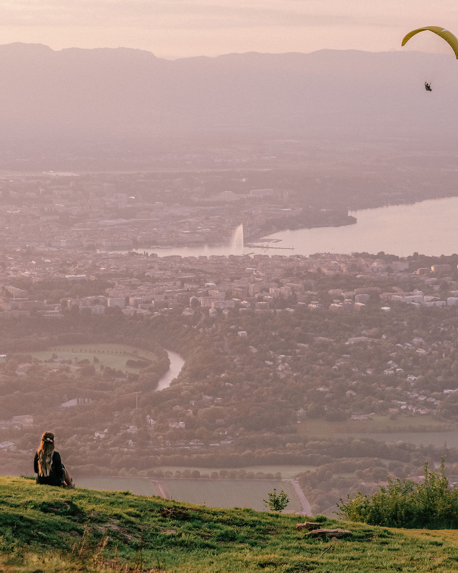 Adaras watching the sunset over Geneva from Mount Salève