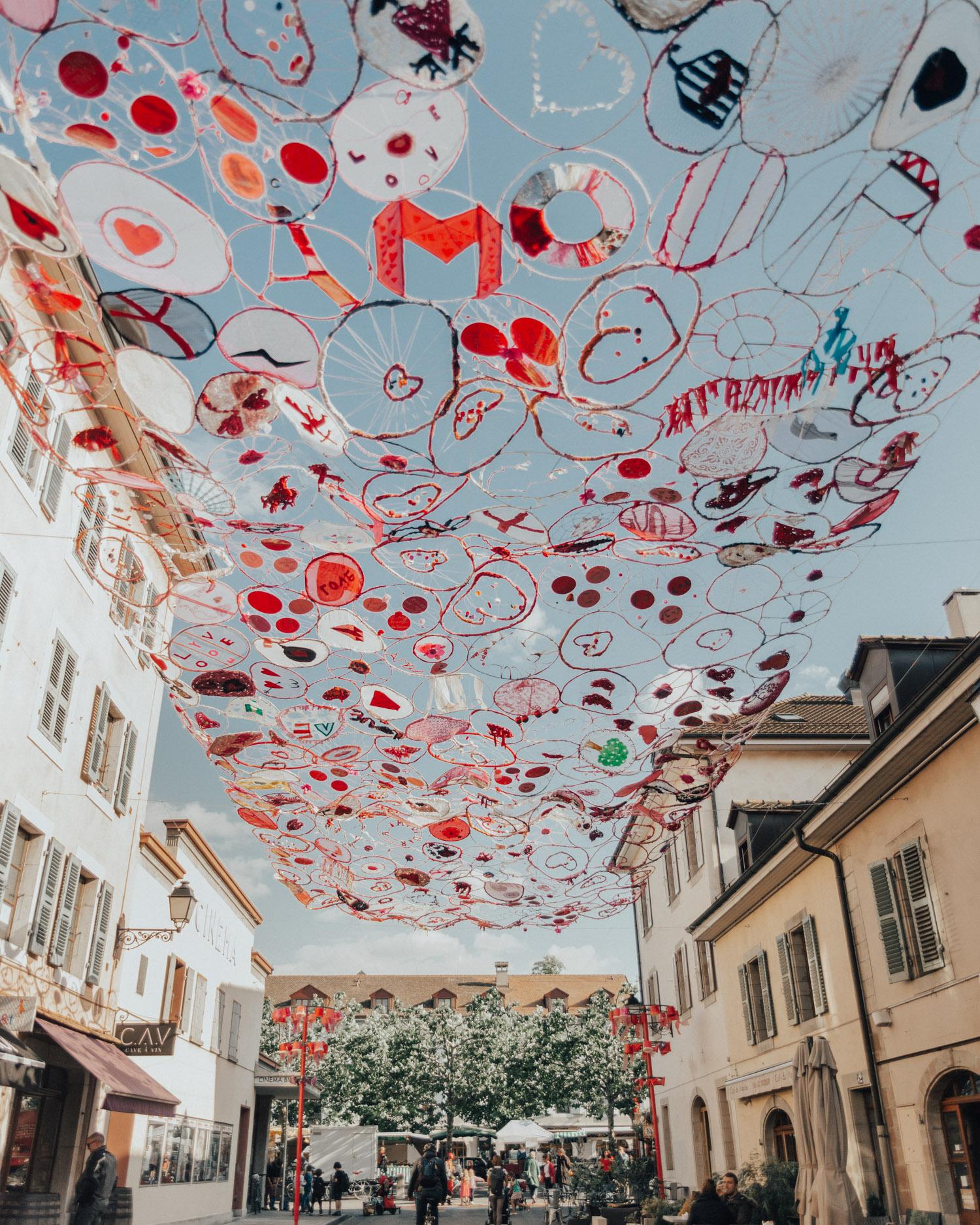 Street with creative artwork in the bohemian district Carouge in Geneva, Switzerland