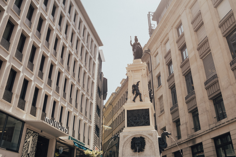 Chic Street & Statue in Geneva