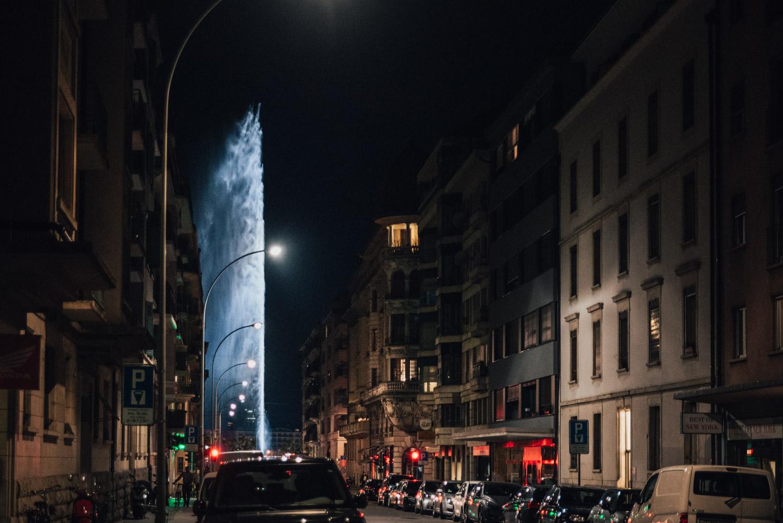 Jet d'eau by night, Geneva, Switzerland