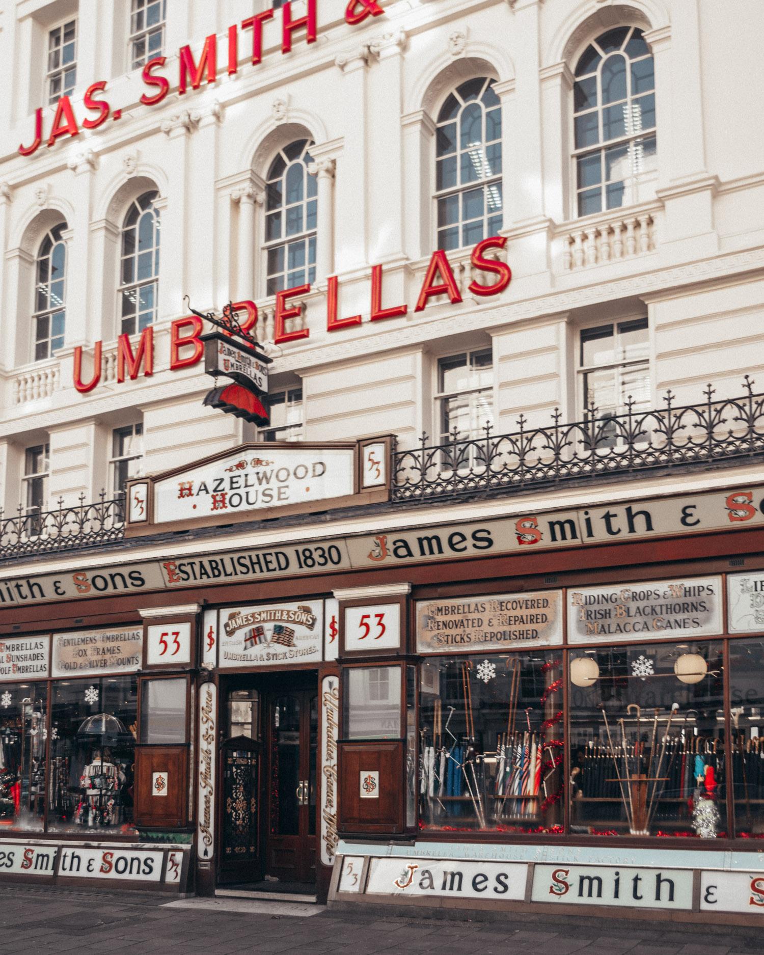 James Smith & Sons Umbrella Shop in London, England