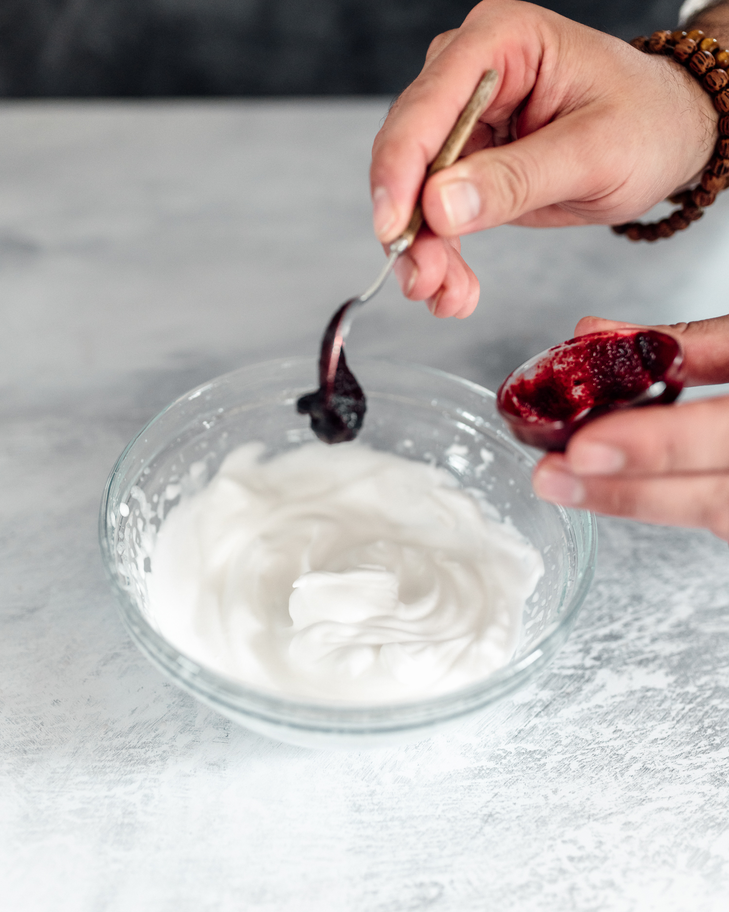 Mix the beetroot paste with the whipped aquafaba.