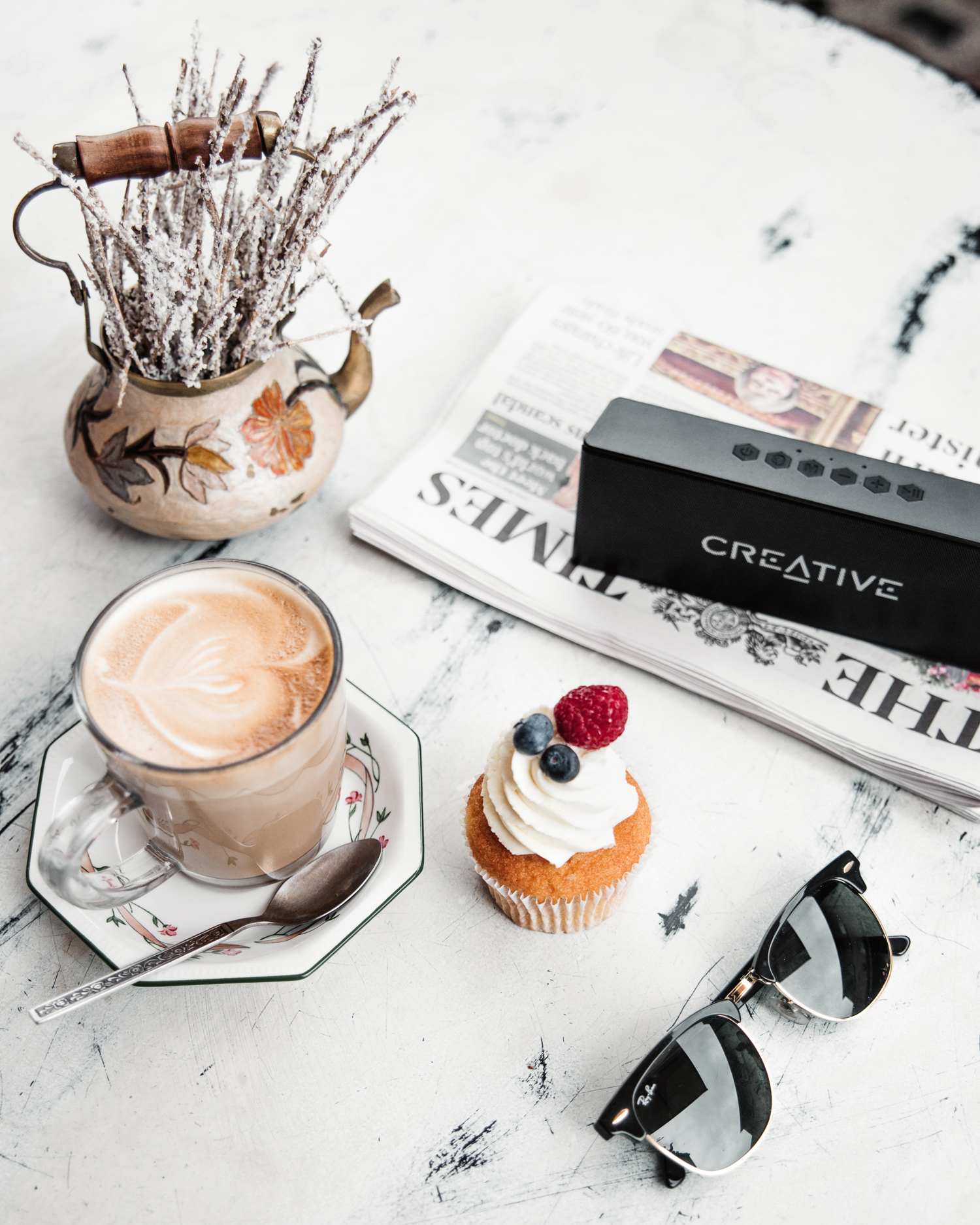 Coffee Flatlay with Creative Speaker