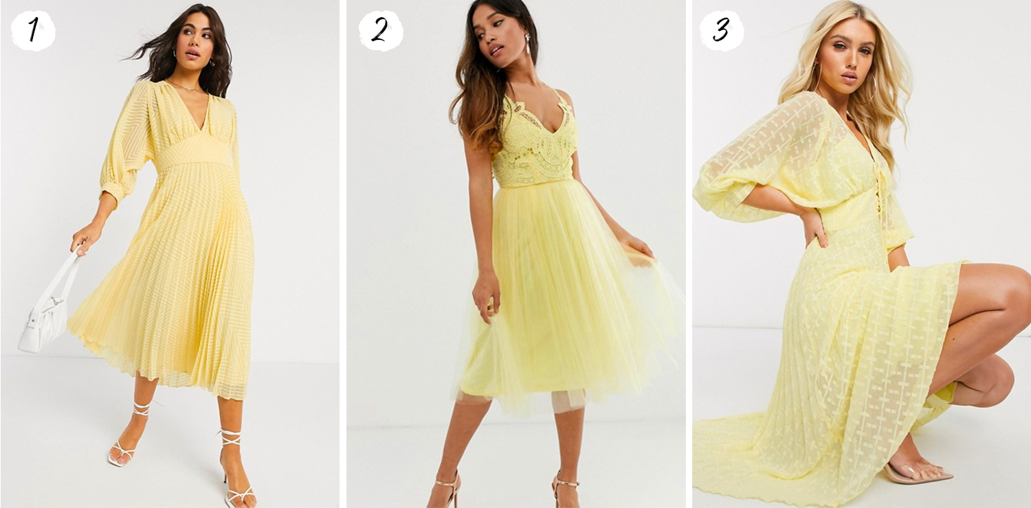 Pale Yellow Midi Dresses