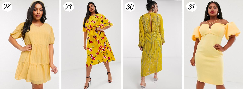 Snygga gula plus size-klänningar