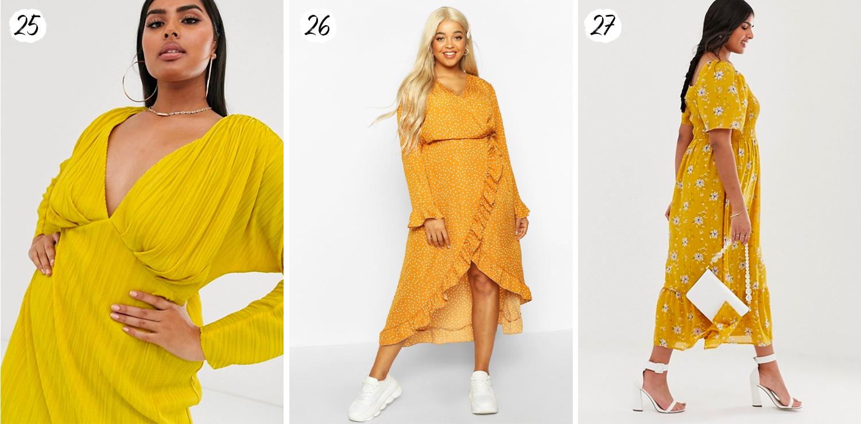 Gula plus size-klänningar