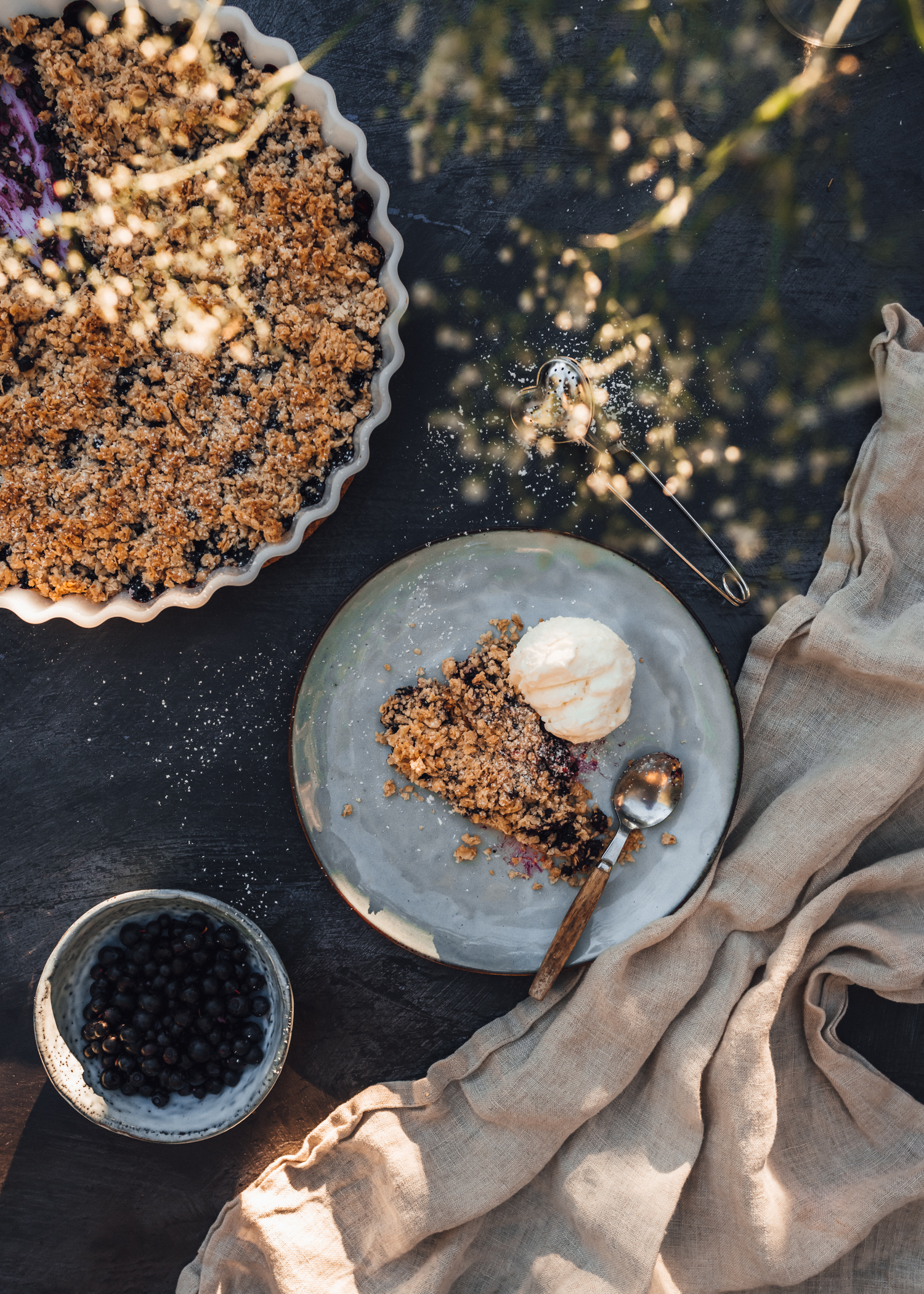 Swedish Vegan Blueberry Crumble Pie with Vanilla Ice Cream