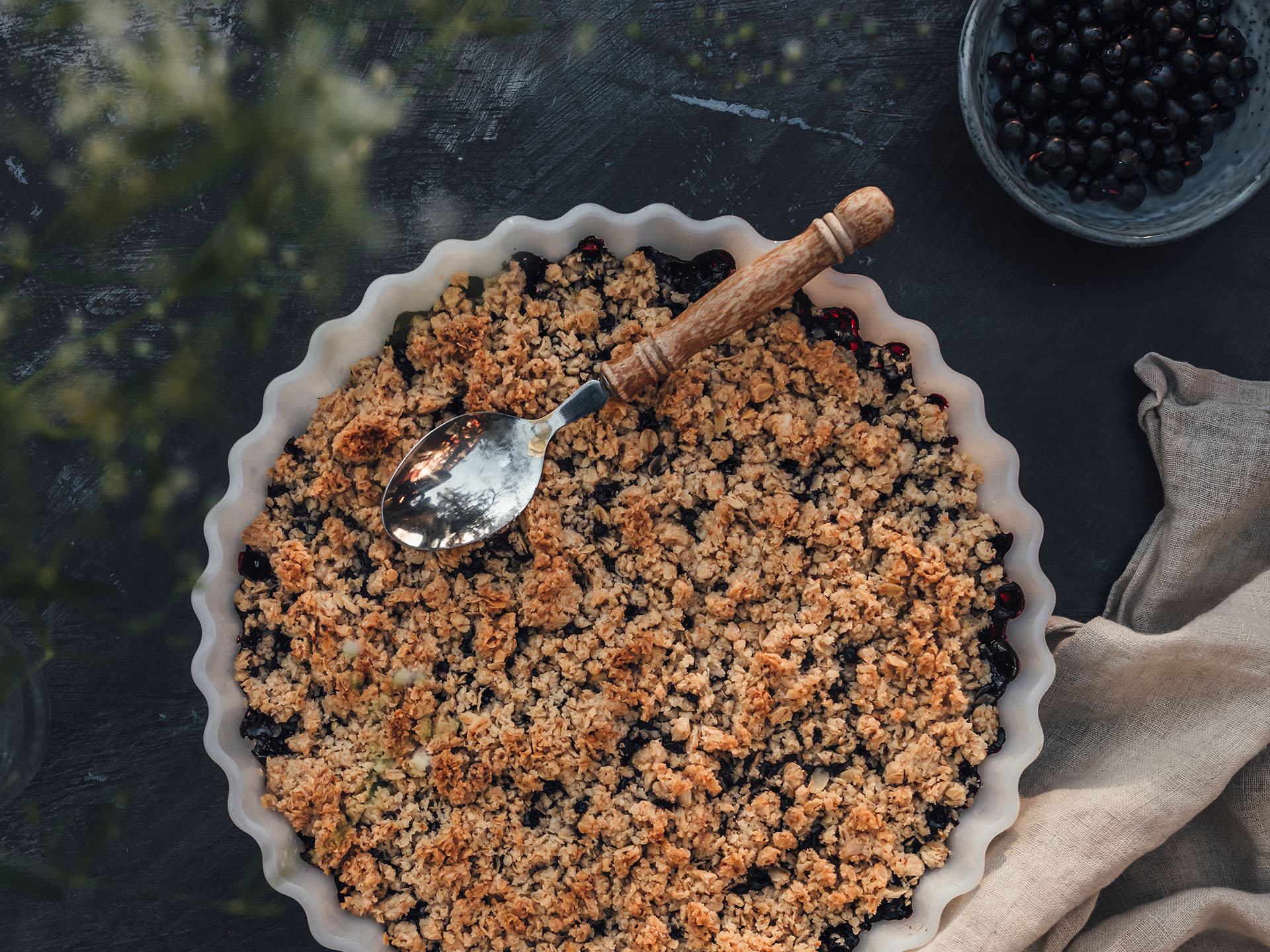 Swedish Blueberry Crumble Pie - Simple Vegan Recipe