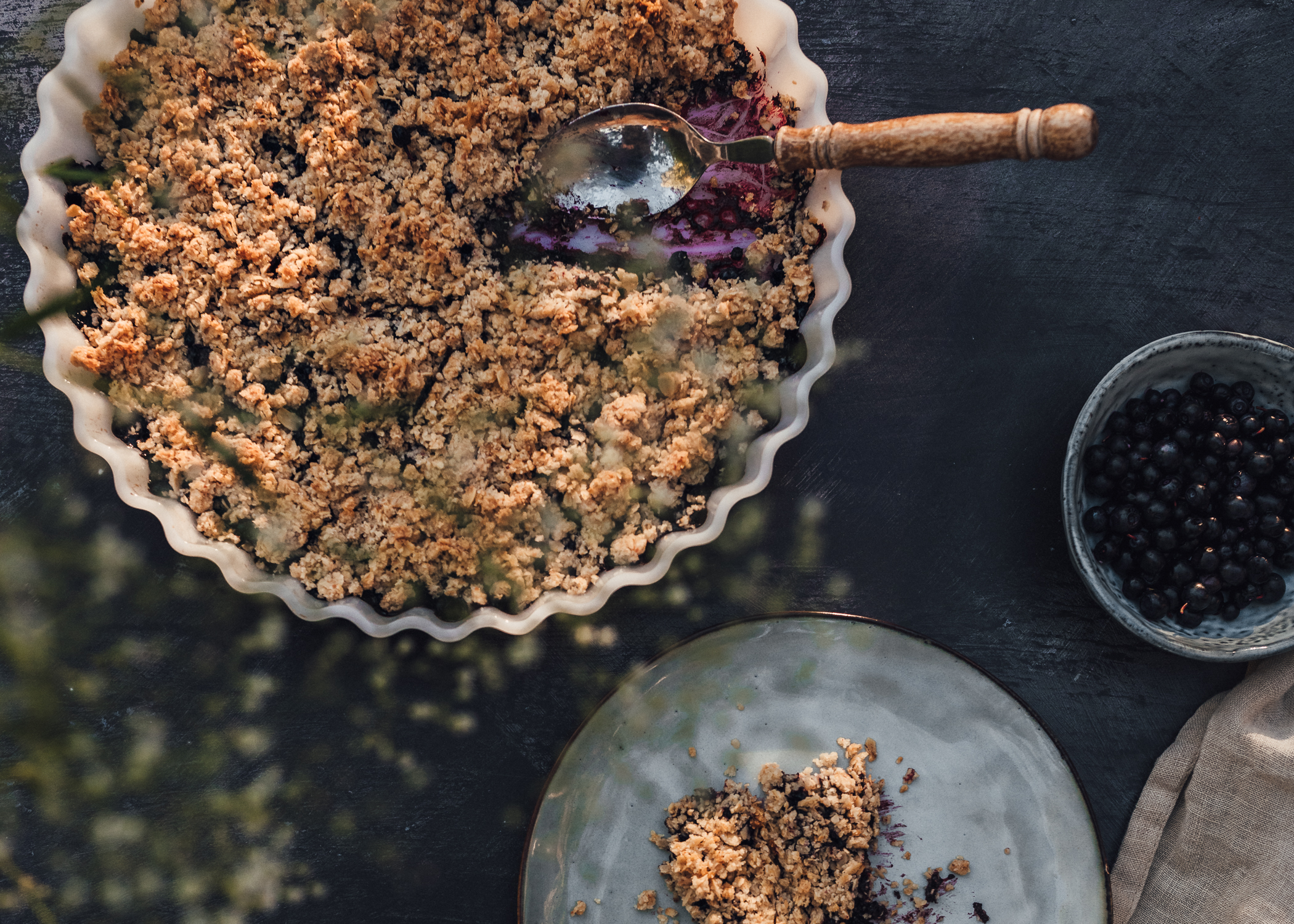 Swedish Blueberry Crumble Pie