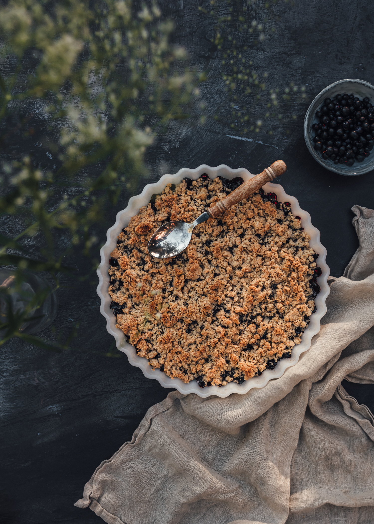 Swedish Blueberry Crumble Pie - Easy Vegan Recipe