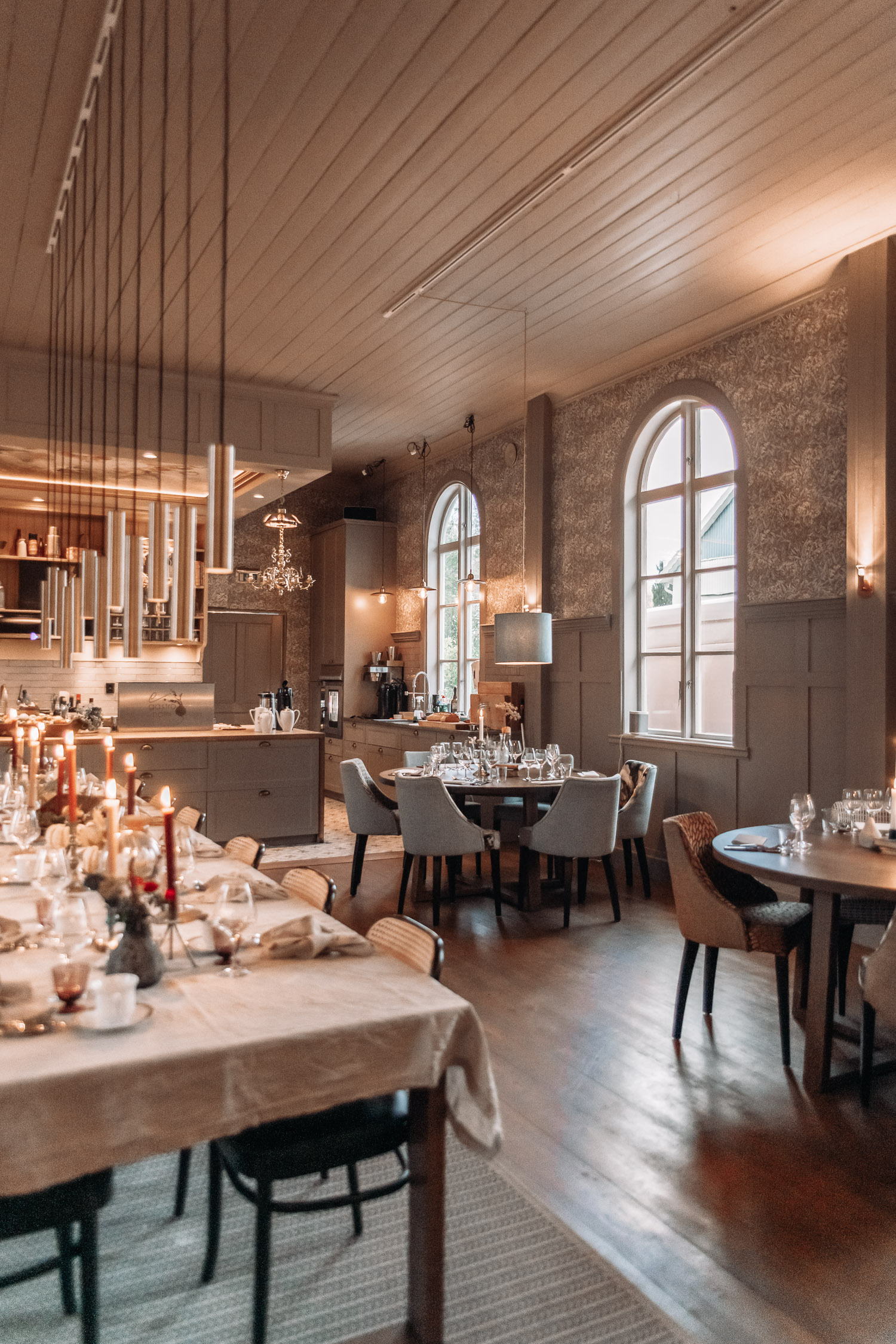 Elegant interior in Egastronomi – food studio and restaurant in Åbytorp, Sweden