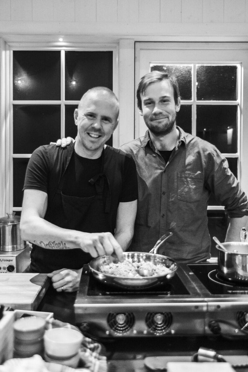 Chef-Anders and organic farmer-Adam at restaurant MULL.