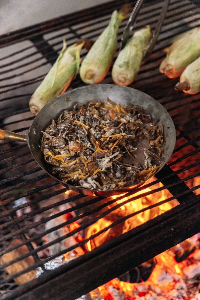 Fresh chanterelles and corn are cooked over an open fire, Örebro.