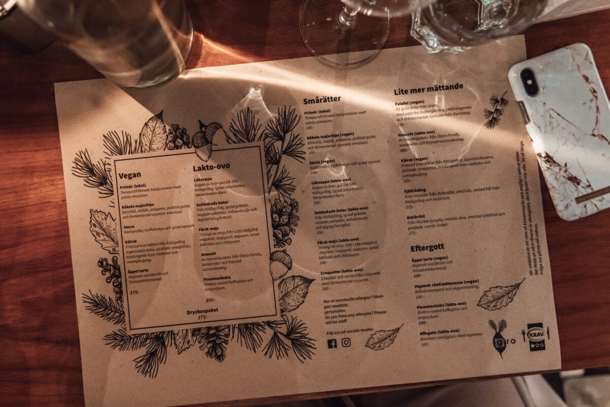 Climate-smart, vegan and vegetarian menu at Matbaren Gro on Stallbacken in Örebro