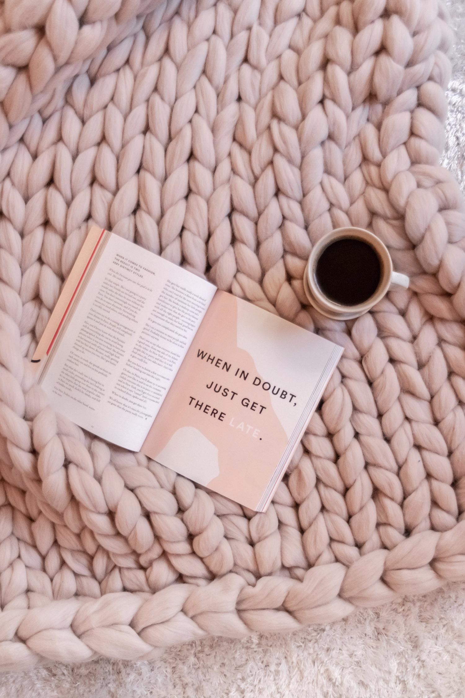 Chunky Knit Throw Blanket + Book & Coffee