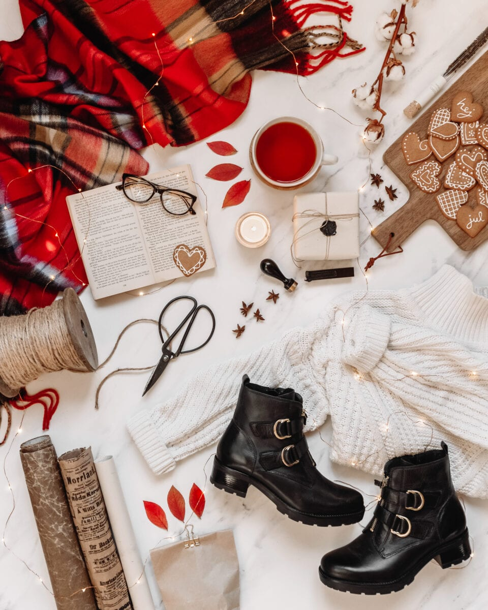 Cozy Winter Flatlay with Marble Photo Backdrop from Club Backdrop