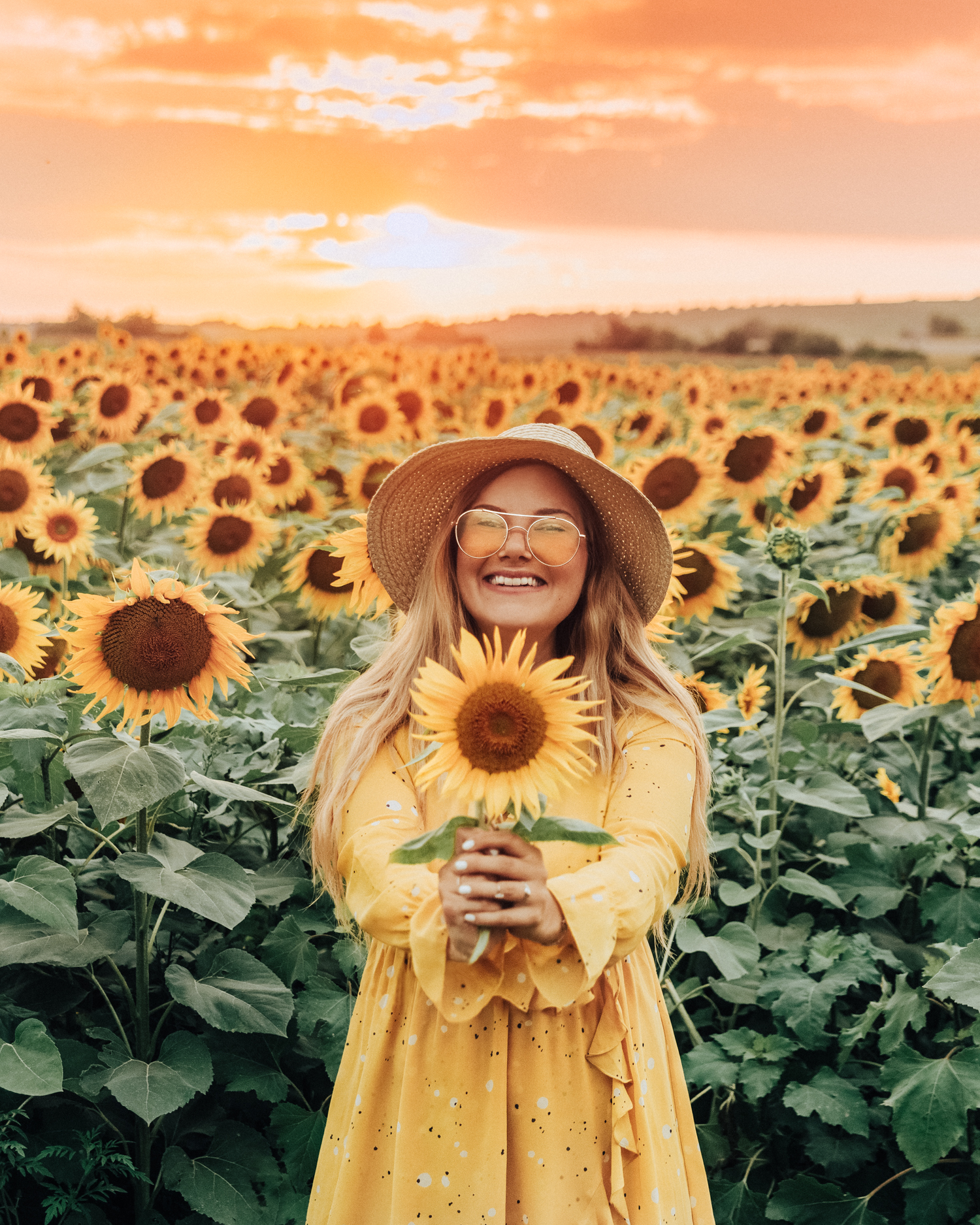 Ida Josefin Eriksson standing in a sunflower field in sunset in Slavonia, Croatia